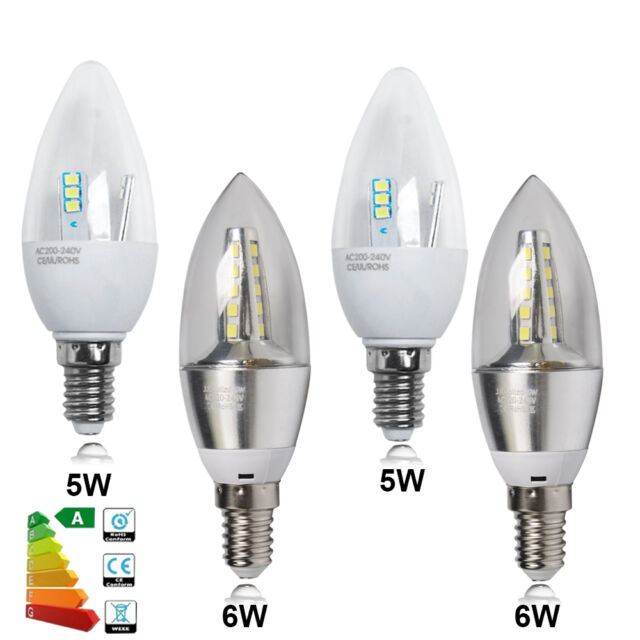 6x LED 5W 6W E14 Candle Bulbs SES Small Edison Screw Chandelier Downlight Lamps