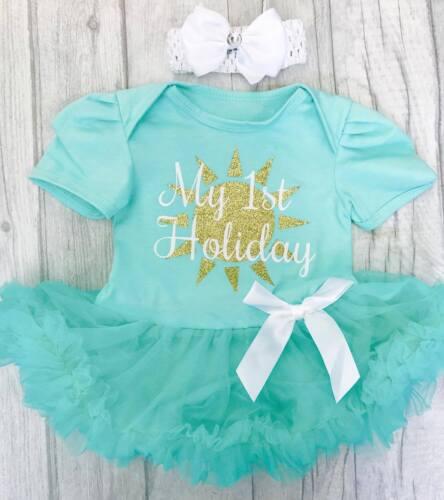 BABY GIRL/'S 1ST HOLIDAY Tutu Romper Newborn PRINCESS Gift SUMMER DRESS Cute Love