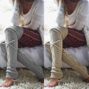 Femmes-Hiver-Chaud-Tricot-Crochet-Haut-Genou-Jambieres-Jambieres-Bottes-Bas