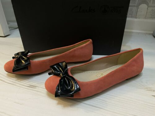 New Clarks Coral Ballerine Chaussures Nœud Noir Slip On UK5//US7.5