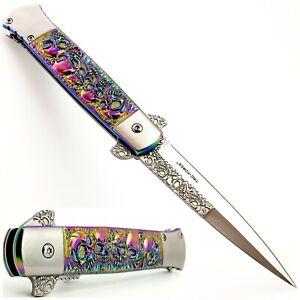 "8.75"" STILETTO FOLDING POCKET KNIFE SPRING ASSISTED OPEN SKULL RAINBOW SILVER"