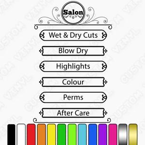 Services List shop window sign decal Hair Salon Custom Price//Product List