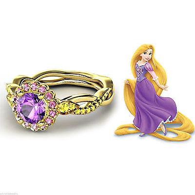14K Gold Over 925 Silver Multicolor Stone Disney Princess Rapunzel Wedding Ring