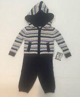 Piper & Posie Baby Boy Knit Pants & Hoodie Set Size 3-6m