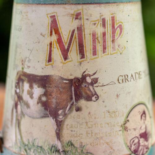 Kanne mit Kuh Vintage Blechkanne Milchmotiv Gießkanne Karaffe im Landhausstil