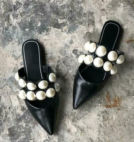 Womens Black Faux Leather Pearls Pointy Toe Flats Mules Slippers Sandal Shoes SZ