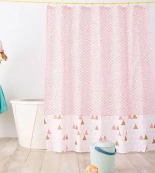 100% Kwaliteit Pillowfort Triangle Shower Curtain Pink Coral Multi New