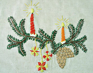 VINTAGE-CHRISTMAS-DECORATION-HAND-MADE-EMBROIDERY-LINEN-36-034-x-56-034-TABLECLOTH