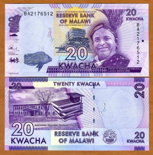 P-New Malawi UNC 2016 20 Kwacha