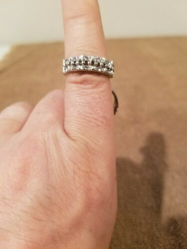 Details about  /Cubic Zirconia Rhinestones 18K White Gold Plated Engagement//Wedding Ring Set