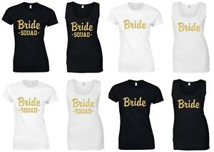 GOLD-GLITTER-BRIDE-SQUAD-Ladies-T-Shirts-Vests-Hen-Do-Wedding-Party-Printed-Tops