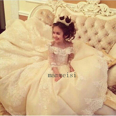 Luxury Flower Girl Princess Dresses Kid Party Pageant Wedding Bridesmaid Dress