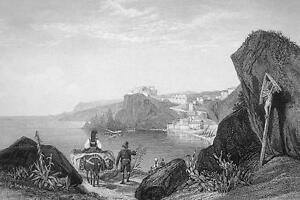 ITALY-Calabria-Rock-amp-Promontory-of-Scylla-155-Years-Old-Antique-Print