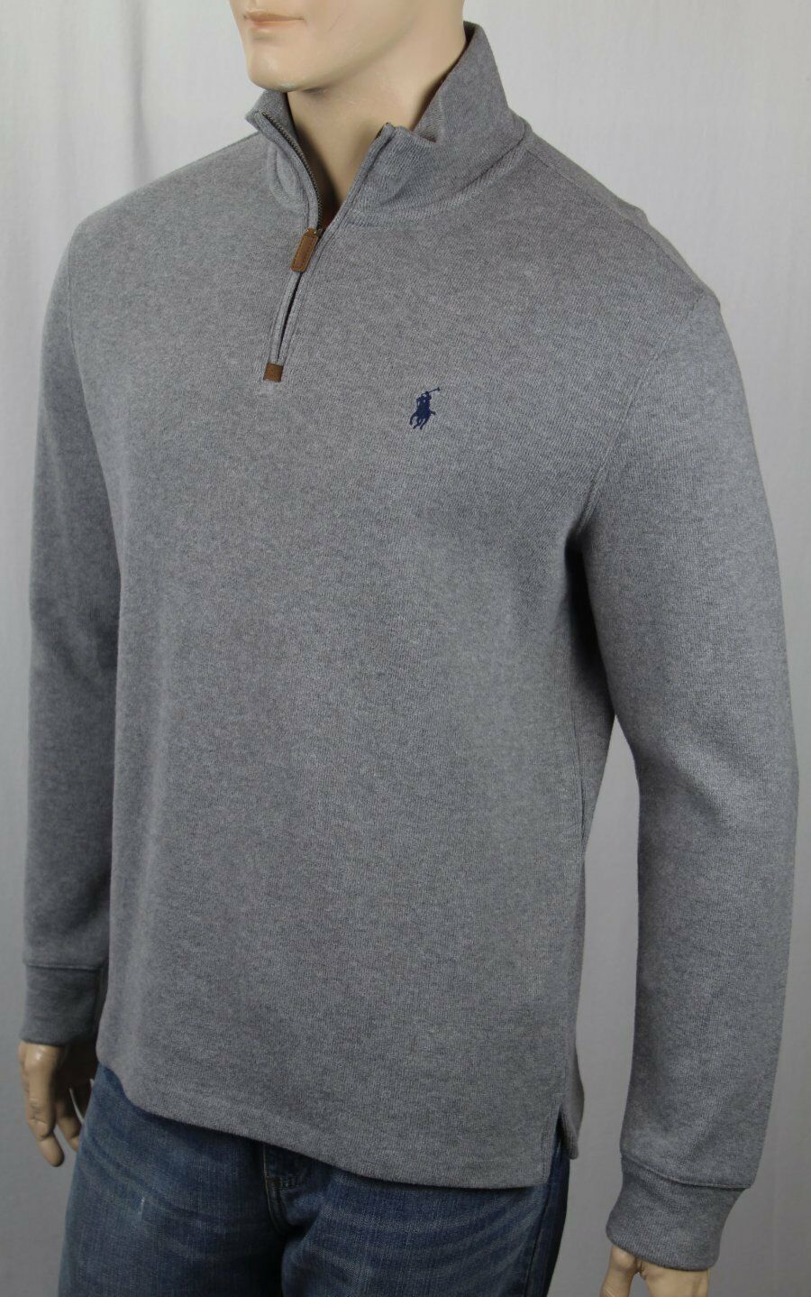 Polo Ralph Lauren Grau 1/2 Half Zip Sweater Navy Blau Pony NWT