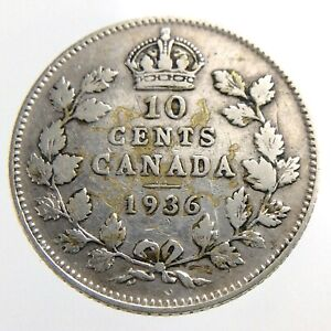 1936-Canada-10-Cents-Silver-Dime-Circulated-George-V-Ten-Cent-Coin-R438