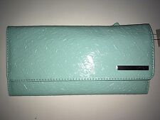 Kenneth Cole Reaction Elongated Aqua Patent Leather Clutch Wallet NWT