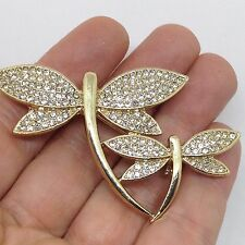 Vintage DRAGONFLY MOM & BABY BROOCH PIN Clear Pave Rhinestone Wings Gold Tone