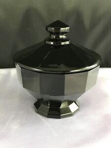Vintage Westmoreland Black/Amethyst Glass Trinket Box w/ Lid TB line