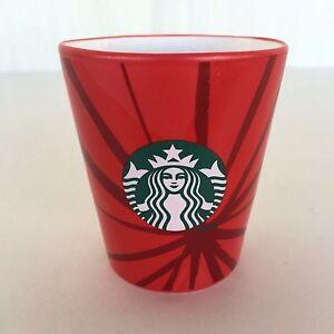 Details About Starbucks Coffee 3 Ounce Espresso Shot Glass Red Caffeine Drink Dishwasher Safe