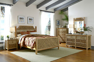 Mandalay Natural Wicker Rattan 5 Pc. Bedroom Set - FREE SHIPPING | eBay