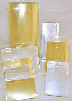 Acetate Display Boxes, Clear Boxes with Gold or Silver Card, 8 Sizes Available