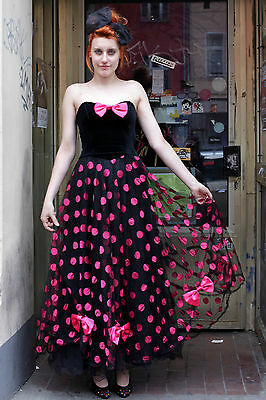 Sina C. & Corso Chat Donna Abito Dress Nero Black Pink 90er True Vintage 90´s-mostra Il Titolo Originale