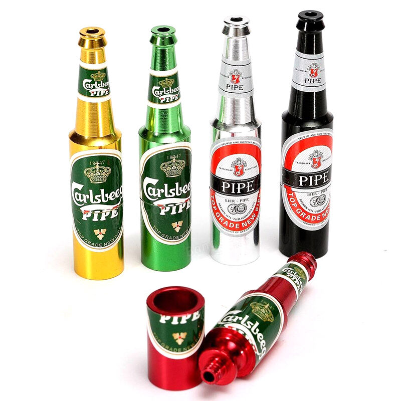 Mini Beer Bottle Pipe Smoking Tobacco Herb Metal Aluminum Portable Pocket