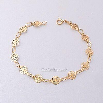 Amalfi Malta MALTESE CROSS Jewellery Hallmarked 9ct 9k Gold Bracelet Genuine 375