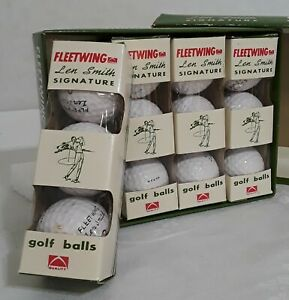 Vintage-FLEETWING-Len-Smith-Signature-Golf-Balls-Made-in-Japan-Set-of-3-1961-Era
