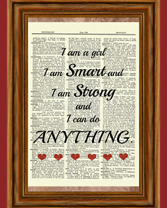 Strong Girl Quote Dictionary Art Print Book Picture Poster Inspirational Gift