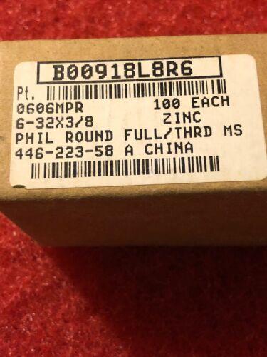 #6-32 Zinc Platted Phillips Pan Head machine Screws6-32x3//8