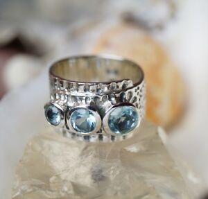 Silberring-53-55-Blautopas-Hellblau-Silber-Ring-Modern-Breit-Massiv-Hammerschlag