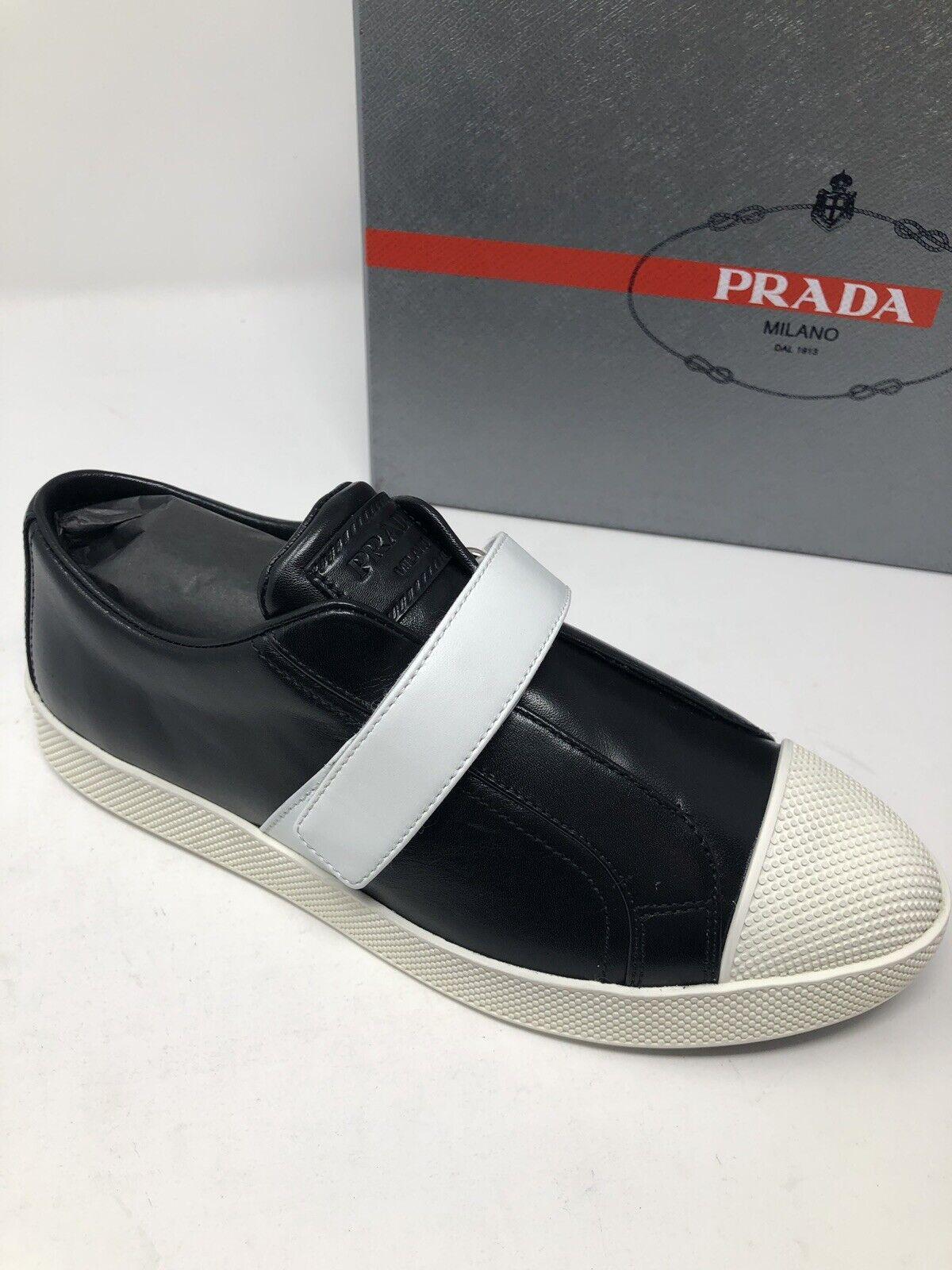 575 New PRADA Womens Vitelli Black Sneakers Ladies shoes Size 7 US 37 UK