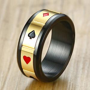 Rotatable-Ring-for-Men-Black-Stainless-Steeel-Spinner-Lucky-Poker-Design