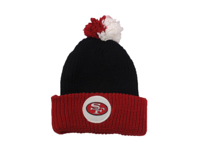 6d9ca362d San Francisco SF 49ers Beanie Mitchell Ness Retro Patch Cuffed Pom Knit  Football