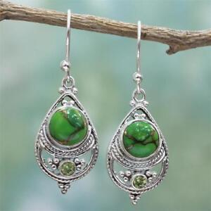 Retro-925-argent-Turquoise-femmes-balancent-crochet-boucles-d-039-oreilles-cadeau