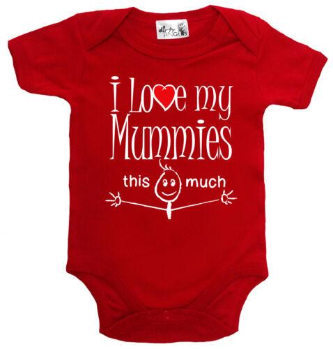 "Funny Baby Bodysuit /""I Love My Mummies This Much/"" Babygrow Vest LGBT Gay Pride"