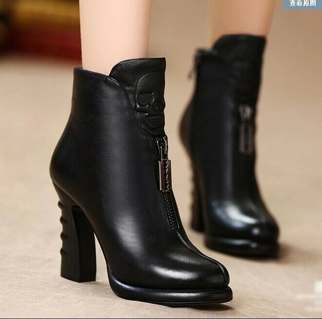 Womens Punk Motorcycle Knight shoes shoes shoes  Platform Skull Block High Heel Ankle Boots ad8df9