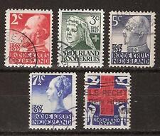 NVPH Netherlands Nederland 203 204 205 206 207 used 1927 Rode Kruiszegels