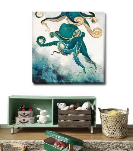 Octopus Ocean Life Stretched Canvas Print Framed Home Office Wall Art Decor AM79