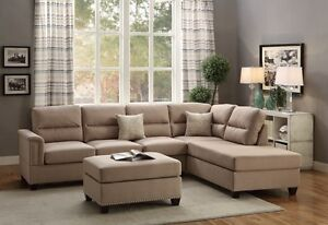 Modern Sand Beige Fabric Sectional Couch Sofa Ottoman Set Reversible