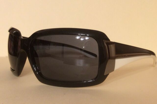 c61304c68e7 Authentic Prada Sunglasses SPR01H 1AB-1A1 Black WhiteFrames Gray Lens 61MM  ITALY