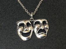 "Theater Mask Comedy Tragedy Charm Tibetan Silver 18"" Necklace BIN"