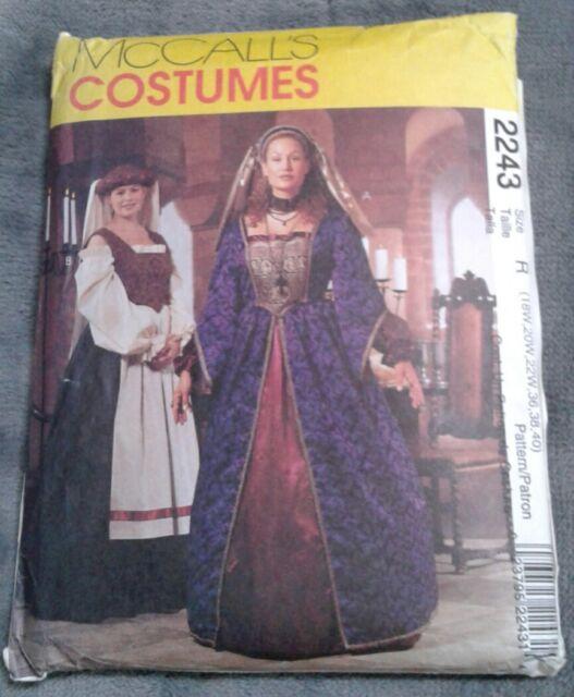 Mccalls Sewing Pattern 2243 Renaissance Dress Costumes Plus Size 18w