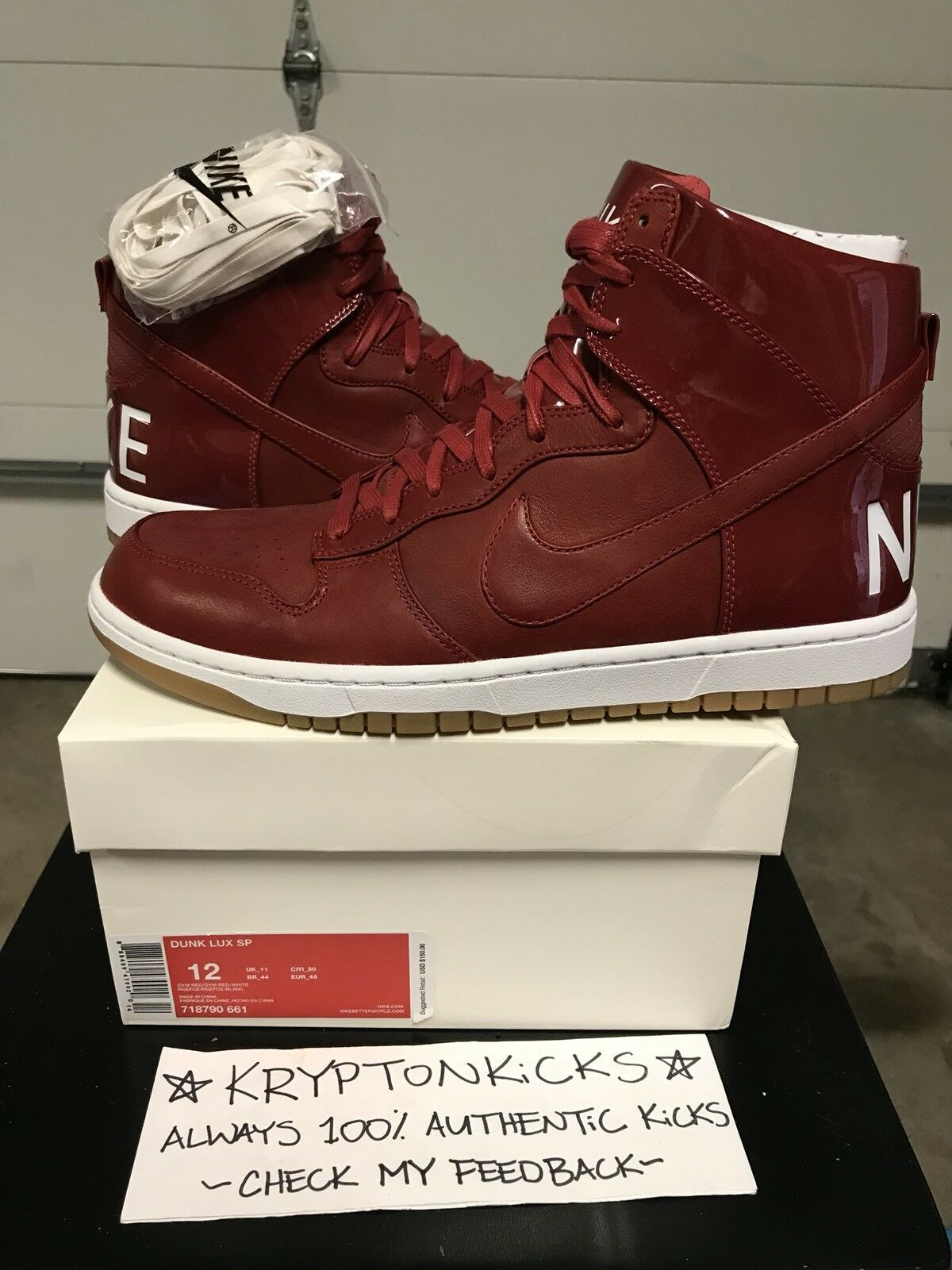 Nike Dunk Lux SP Patent Red DS Sz12 100% Authentic From Nike W receipt