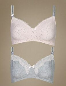 10be8372a5 M S Maternity Bra Nursing Bra Non Wired 2 Pack Pink   Grey Supersoft ...