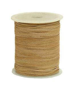 50m-Lederband-Farbe-Natur-1-5-mm-stark-Spule-0-36-1m-50-Meter-auf-Rolle