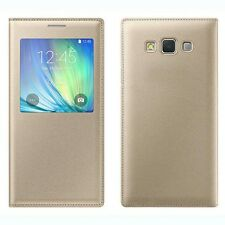 LUXURY (SAMSUNG GALAXY J5 2015 OLD EDITION) Window Leather FLIP COVER -GOLD