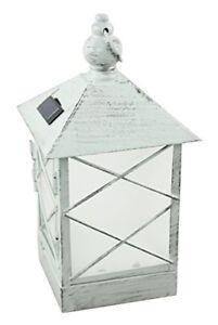 NEW-Moonrays-91165-Solar-Powered-Lantern-Amber-LED-Light-White-Washed-Metal