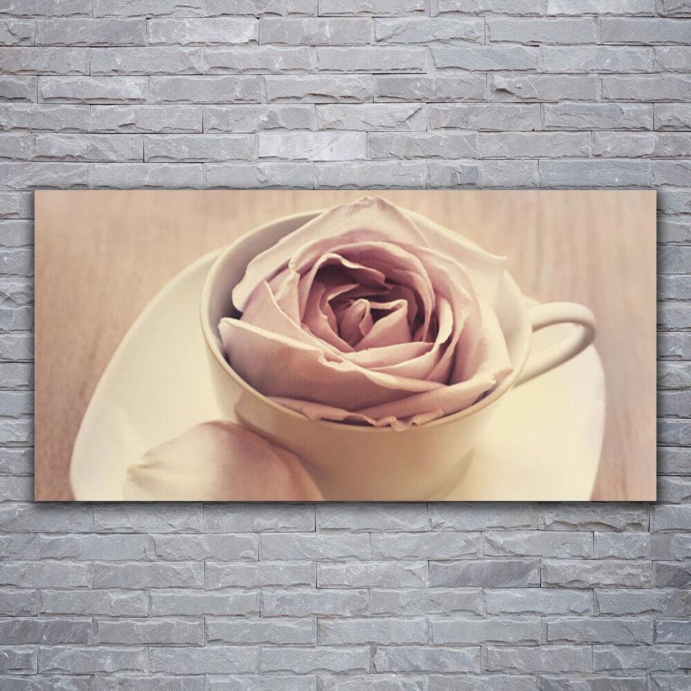 Verre Imprimer Wall Art Image 120x60 Image Tasse Rose Art